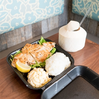 Meet, rice, and potato salad at One Hawaiian BBQ in Buena Park