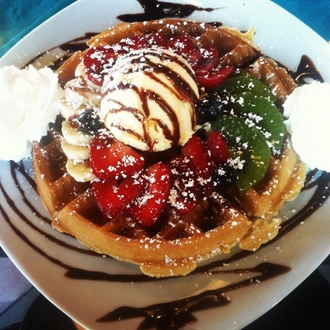Waffles with fruit and ice cream from Coffee Code