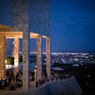Exterior of The Getty at night
