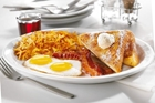 Eggs, French toast, bacon, hashbrowns at Denny's in Buena Park