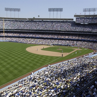 Field and spectators at Los Angeles Dodgers