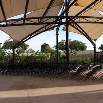 Empty chairs under a patio at Ehlers Event Center in Buena Park