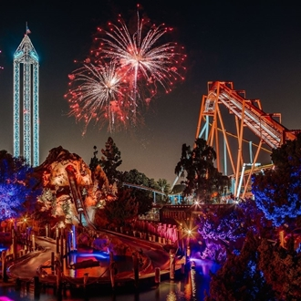 Fireworks over Knott's Berry Farm in Buena Park