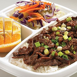 White rice, beef, an orange, and salad at Flame Broiler in Buena Park