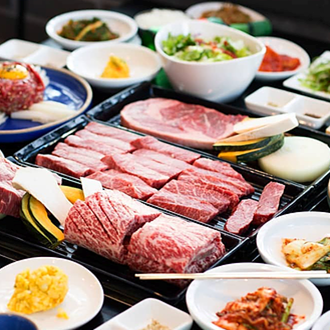 Meat and side dishes at Gangnam House in Buena Park
