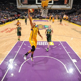 Los Angeles Sparks playing on the court