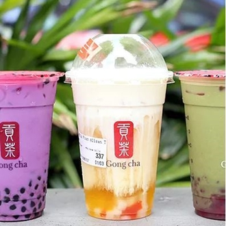 Three cups of boba with Gong Cha logo at Gong Cha in Buena Park