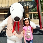 Girl with Snoppy at Knott's Berry Farm in Buena Park