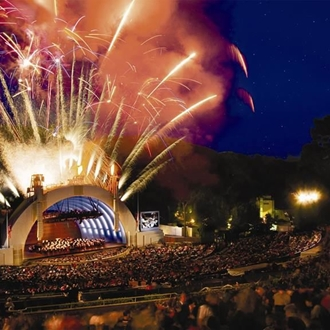 Amphitheater with fireworks in the background at the Hollywood Bowl