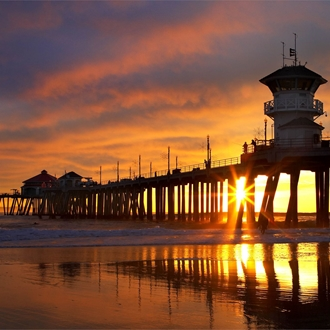 Pier at sunset at Huntington Beach