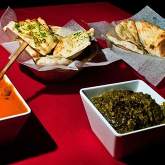 Bread and side dishes at India House in Buena Park