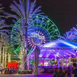 Ferris wheel and palm trees at Irvine Spectrum Center