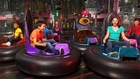 Children riding bumper cars at Johns Incredible Pizza in Buena Park