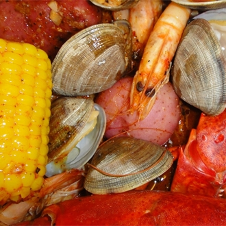 Corn, shrimp, lobster, and mussels at Kickin' Crab in Buena Park