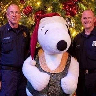 Police with Snoppy at Knott's Berry Farm in Buena Park, CA