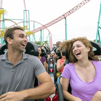 Man and woman on Xcelerator ride at Knott's Berry Farm in Buena Park, CA