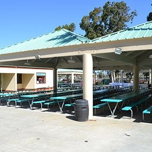 Tables under a canopy at Knott's Berry Farm Park Pavilion in Buena Park