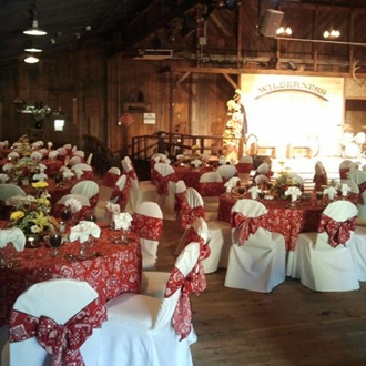 Tables and chairs at Knott's Berry Farm Wilderness Dance Hall in Buena Park