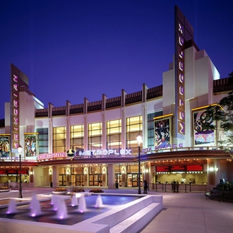 Exterior of Krikorian Metroplex 18 movie theater in Buena Park