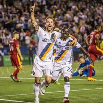 LA Galaxy soccer players rejoicing