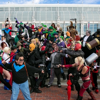 Convention attendees in costumes at Long Beach Comic Con