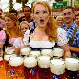 Women serving beer at Oktoberfest Huntington Beach