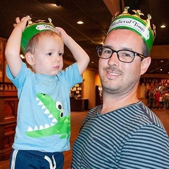 Father and son at Medieval Times in Buena Park