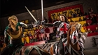 Knights fighting on horses at Medieval Times in Buena Park