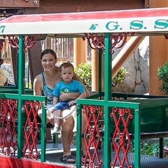 Mom and son on train at Knott's Berry Farm in Buena Park