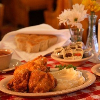 Fried chicken mashed potatoes, and biscuts with jam at Mrs. Knotts Chicekn Dinner in Buena Park, CA