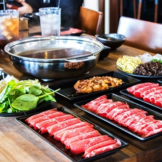 Meat and sides at Miss Shabu in Buena Park