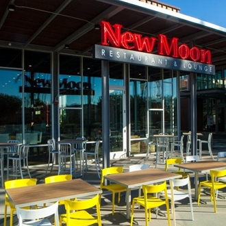 Exterior seating area of New Moon in Buena Park, CA.