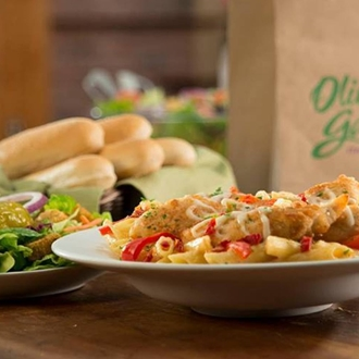 Pasta, salad, and bread sticks at Olive Garden in Buena Park