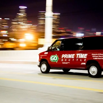 Prime Time Shuttle at night