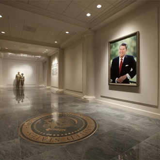 Picture of Ronald Reagan hanging in a hallway at The Ronald Reagan Presidential Library