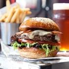 Hamburger, fries, and drink at Rock & Brews in Buena Park
