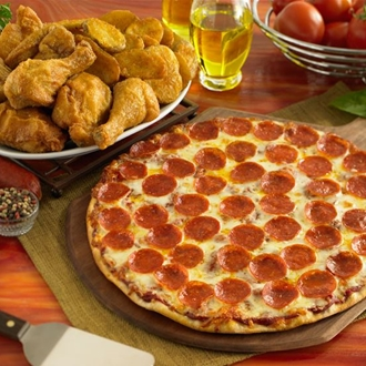 Pizza and wings at Shakey's Pizza Parlor in Buena Park