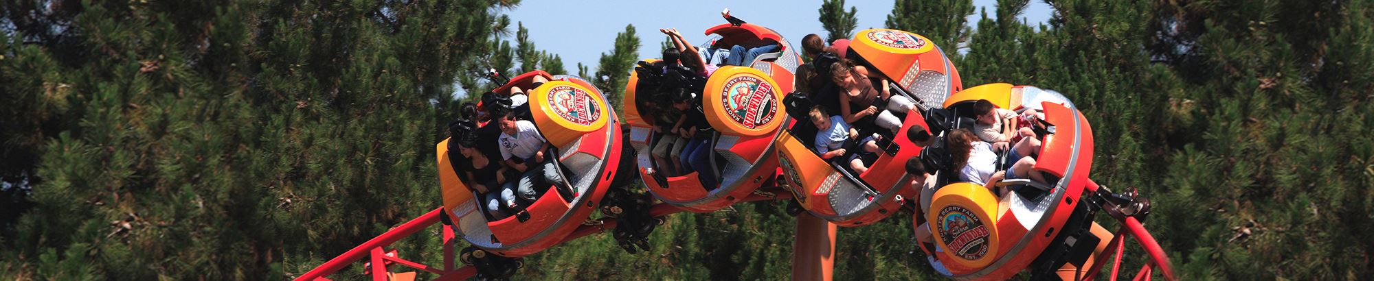Riders on Sierra Sidewinder at Knott's Berry Farm in Buena Park, CA