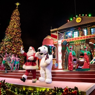 Snoopy and Mr. Clause at Knott's Merry Farm in Buena Park, CA