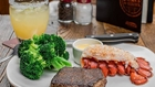 Steak, lobster, and broccoli at Outback Steakhouse in Buena Park
