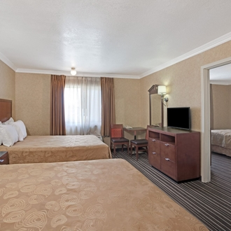 Double bed room at Knights Inn in Buena Park