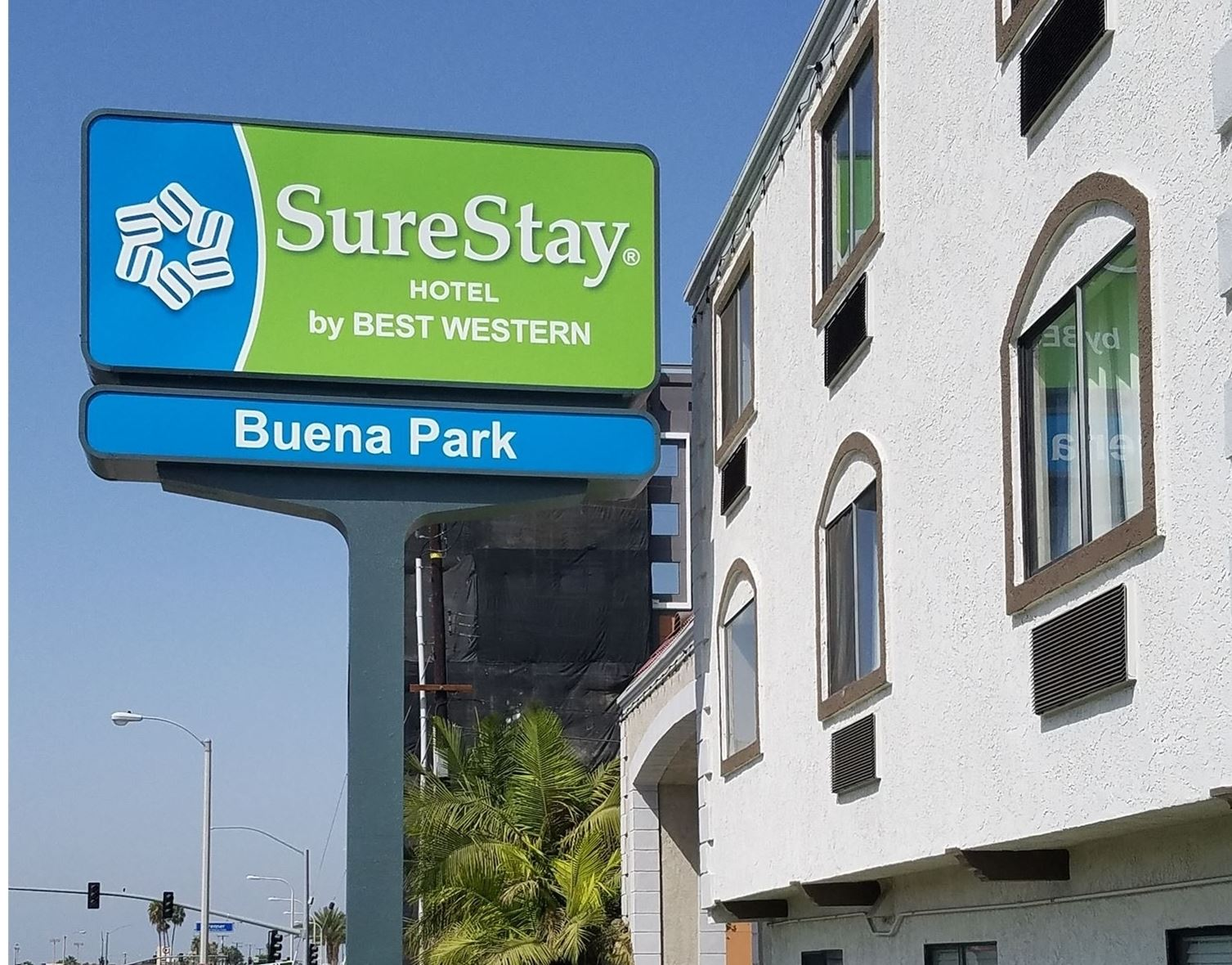 Exterior with Surestay sign at Surestay in Buena Park
