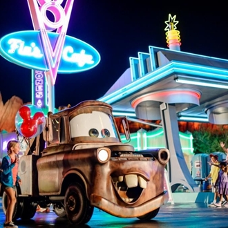 Child and Mater in Cars Land at Disney California Adventure