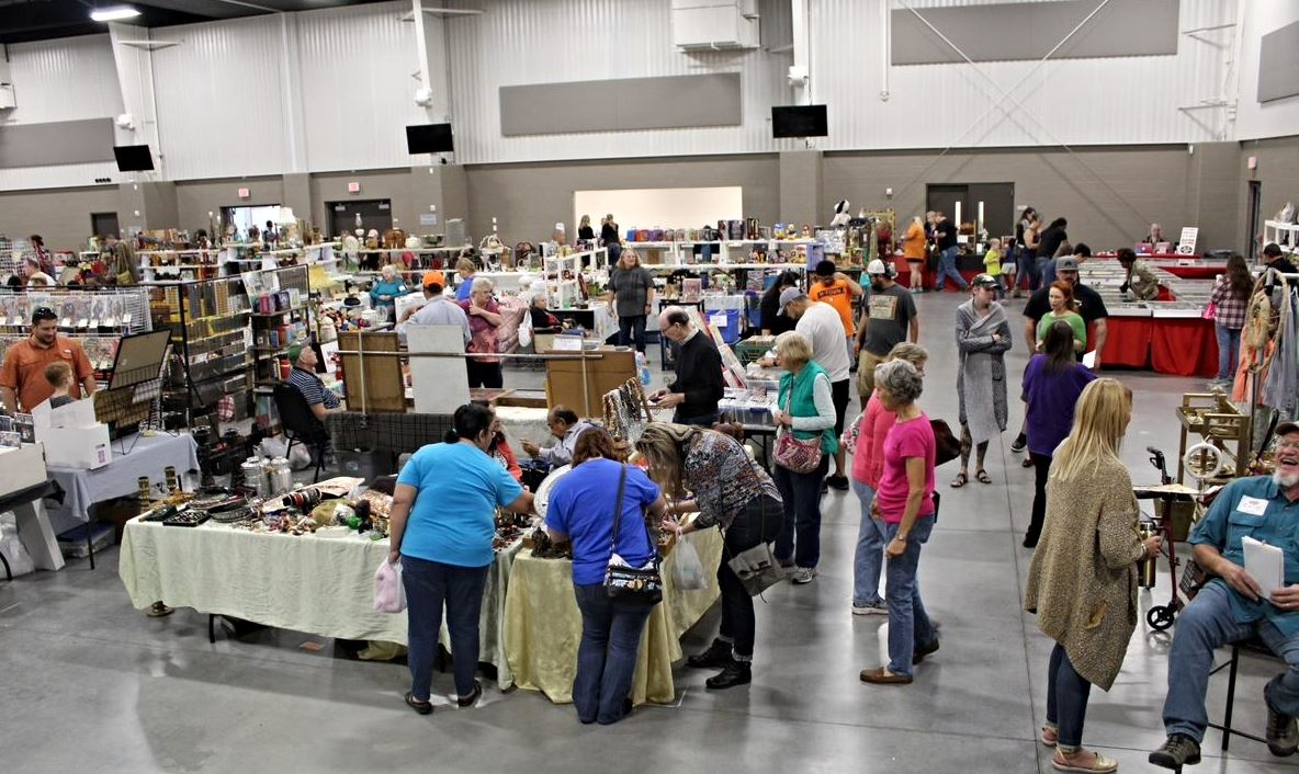 Event goers browsing through booths in the Indoor Expo Hall