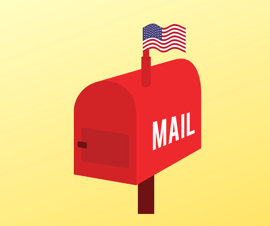 Mailbox with a an American Flag