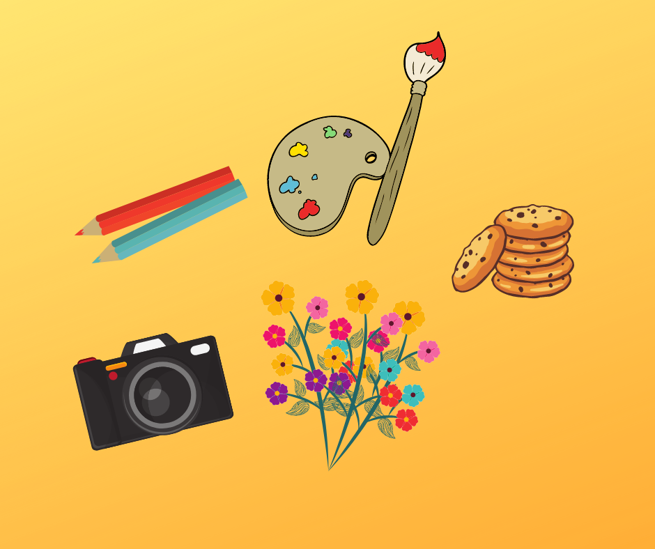 A camera, an artist palette, flowers and pencils with link to youth entry winners