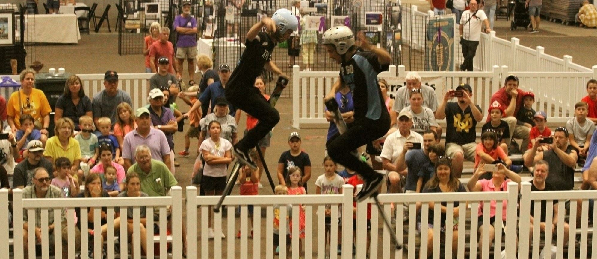 Xpogo stunt team performs at the 2019 Williamson County Fair