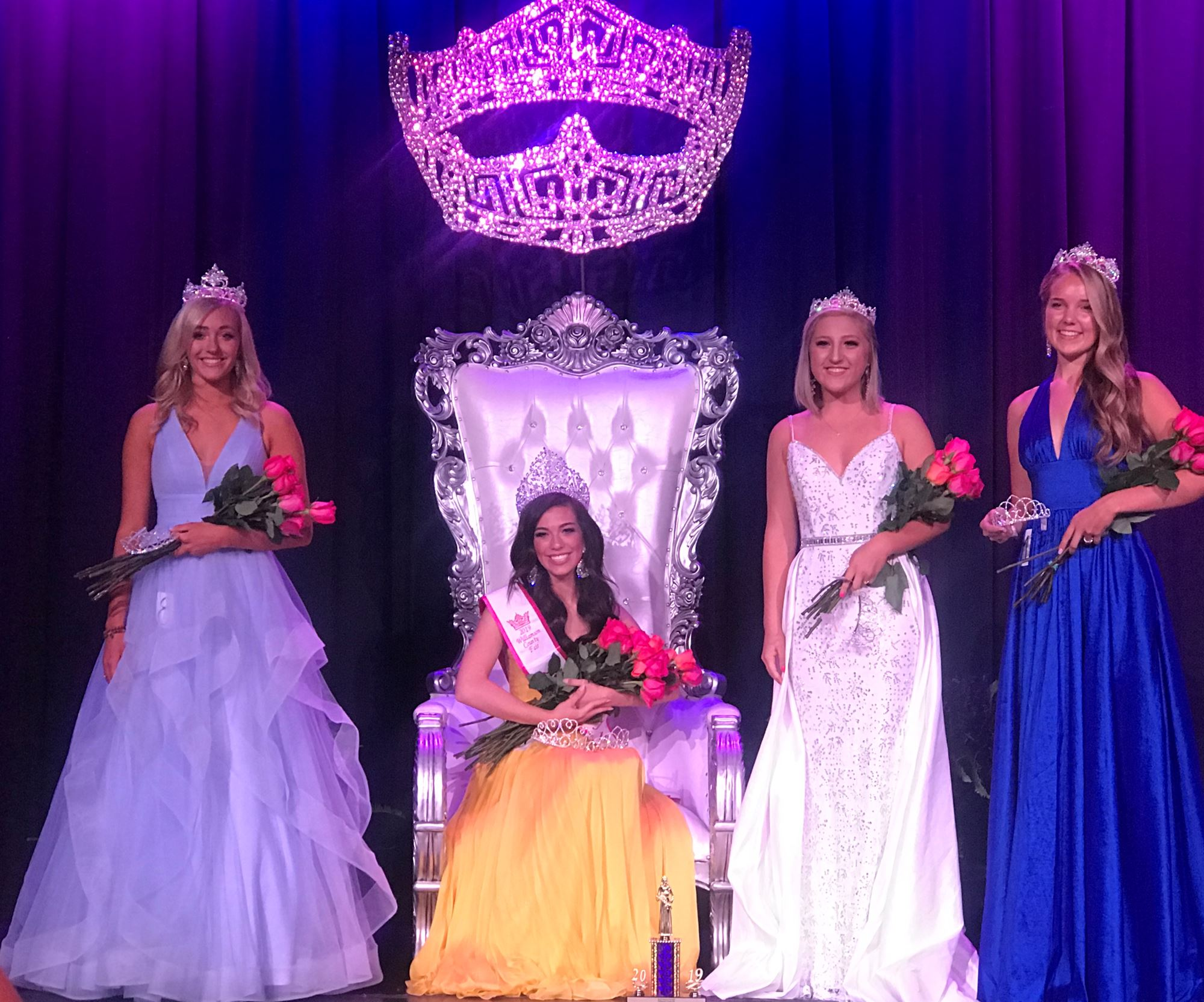 2019 Fairest of the Fair Carsyn Hughes and her court, with a link to enter Pageants.