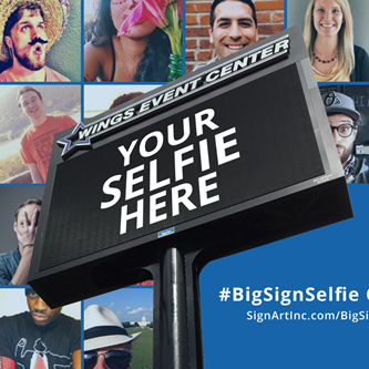 Wings Event Center Connects New Digital Sign To A Hashtag For 20 Foot Tall Selfies