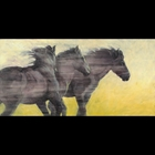 wind blowing by three horses